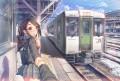 女子高生と汽車